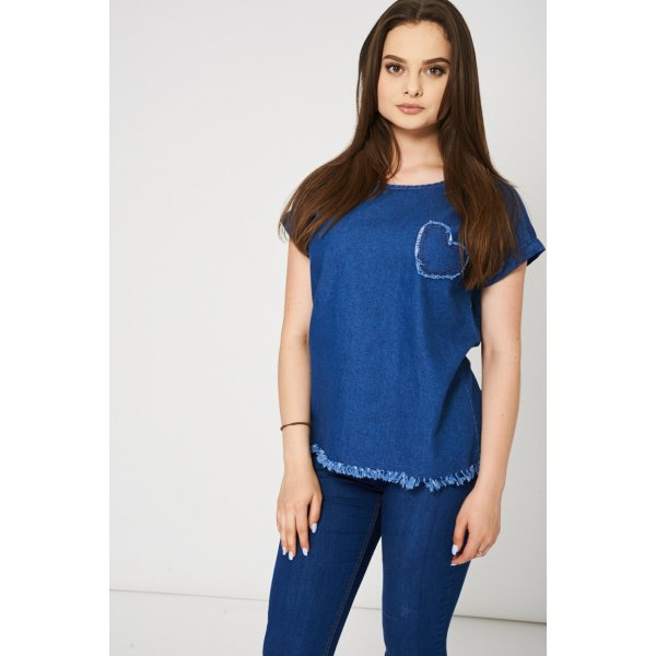 Blue Denim 9006 With Heart Detail Ex-Branded -- 100% Cotton --- select 'color' and 'size' in order remarks