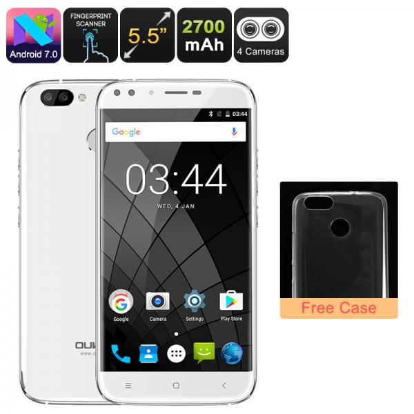HK Warehouse Android Phone Oukitel U22 - Android 7.0, Quad-Core CPU, 2GB RAM, 5.5 Inch Display, 720p, Dual-Rear Cam (White)