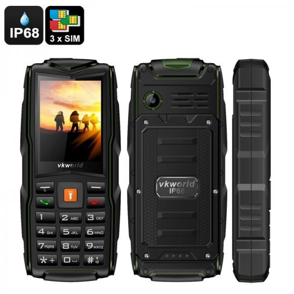 VKWorld New Stone V3 GSM Cell Phone - 3 SIM Slots, IP68, Bluetooth, Flashlight, FM Radio, 3000mAh Battery (Green)