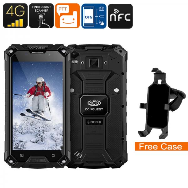 Conquest S6 Rugged Phone - IP68, Octa-Core CPU, 5 Inch HD Display, 4G, Dual-Band WiFi, NFC, Fingerprint, Android 6.0 (Black)