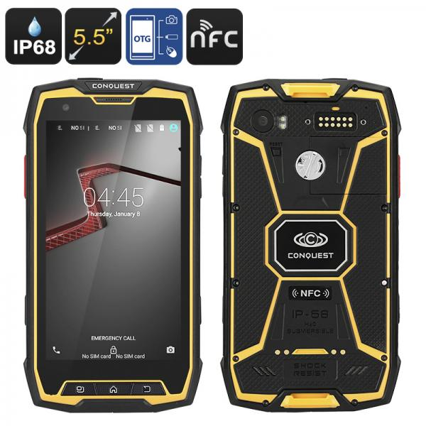 Conquest S9 Rugged Smartphone - Android OS, IP68, Octa-Core CPU, 5.5 Inch Display, 2GB RAM, OTG, NFC (Yellow)