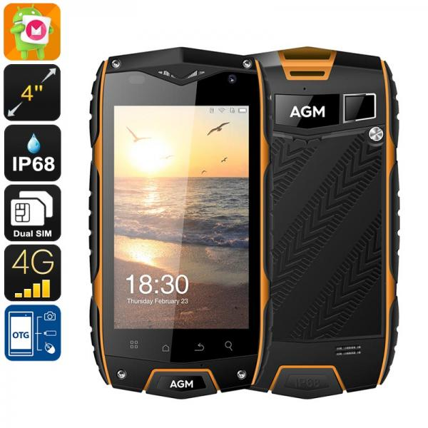 AGM A7 Rugged Phone - IP68, Dual-IMEI, 4G, OTG, Quad-Core CPU, 2GB RAM, Android OS, 8MP Camera, 4 Inch Display