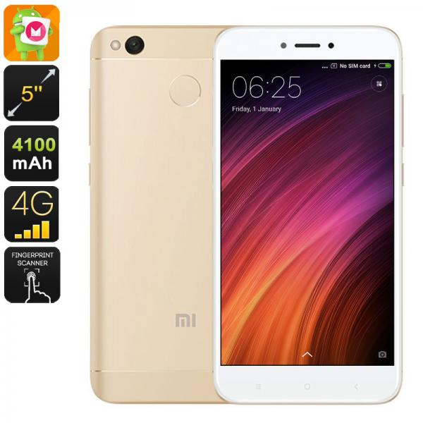 Mobile Phone Xiaomi Redmi 4X - Android 6.0, Fingerprint Scanner, Octa Core CPU, 2GB RAM, 16GB Memory, 4G, 13MP Camera (Gold)