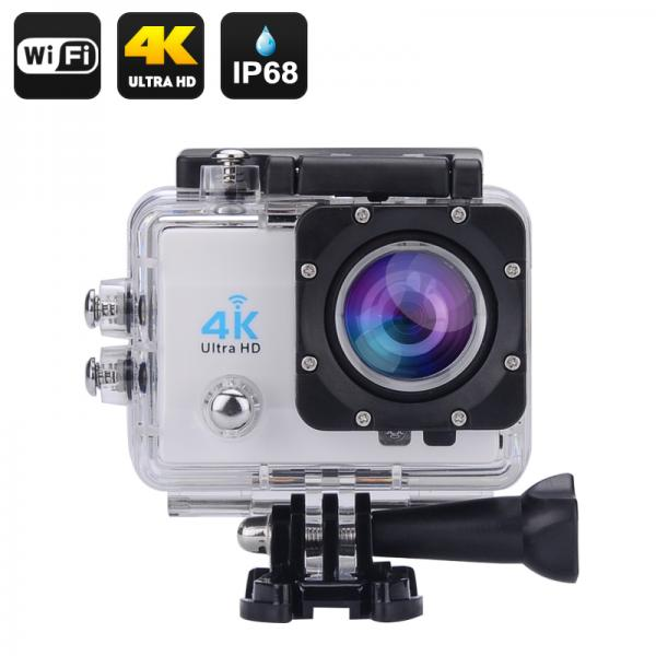 4K Wi-Fi Waterproof Sports Action Camera - 2 Inch LCD Display, 4K Ultra HD, 16MP, HDMI Out, 170 Degree Wide Angle (Silver)