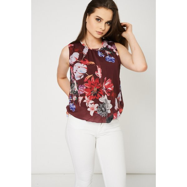 Floral Print Sleeveless 9006 Ex-Branded -- 100% Polyester --- select 'color' and 'size' in order remarks