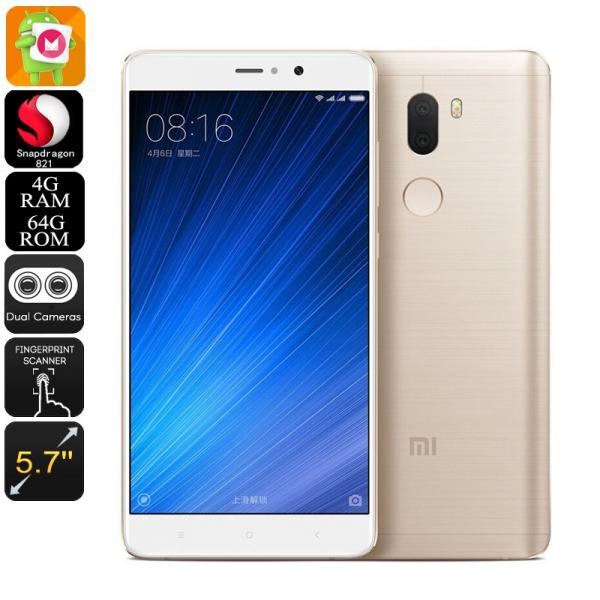 HK Warehouse Xiaomi Mi 5S Plus Android Smartphone - Qualcomm CPU, 4GB RAM, Android 6.0, Dual-IMEI, 4G, 13MP Cam (Gold)