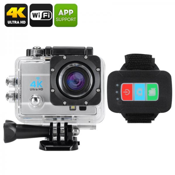 Q3H Waterproof 4K Sports Camera - SONY CMOS, 16MP, 4X Digital Zoom, 2 Inch LCS Screen, 170 Degree Wide Angle Lens (Silver)