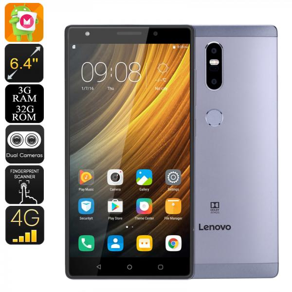 Lenovo Phab 2 Plus Android Smartphone - Dual-SIM, Octa-Core CPU, 3GB RAM, Android 6.0, 6.44 Inch FHD, 4G, 13MP Dual-Cam (Gray)