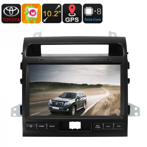 Two DIN Car Media Player - For Land Cruiser, 10.2 Inch, Android 6.0, Bluetooth, GPS, WiFi, 3G, Octa-Core CPU, 2GB RAM