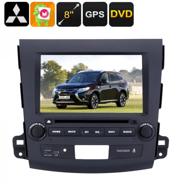 2 DIN Car DVD Player Mitsubishi Outlander - 8 Inch HD Display, Android OS, Quad-Core CPU, Region Free DVD, 3G Support, GPS