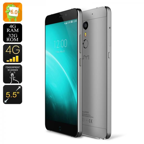 HK Warehouse UMI Super Android Smartphone - Android 6.0, 4GB RAM, Octa Core CPU, Dual SIM, 256GB SD Slot, Quick Charge (Grey)