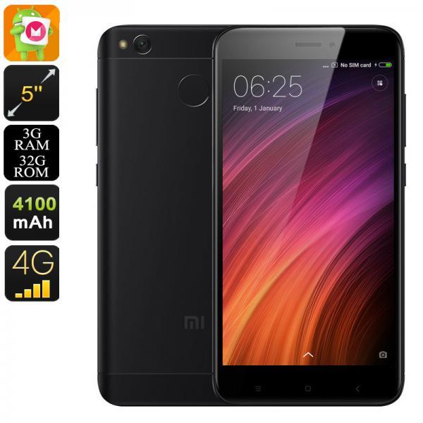 Android Phone Xiaomi Redmi 4X - 5 Inch HD Display, Dual-IMEI, 4G, Snapdragon 435 CPU, 3GB RAM, Fingerprint, 13MP Camera (Black)