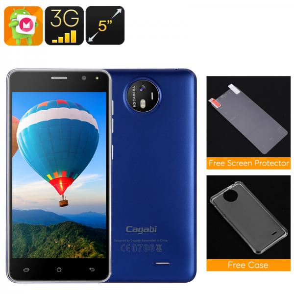 Cagabi One Android Smartphone - Quad Core CPU, Dual SIM, 720P 5 Inch Display, 8MP Camera (Blue)