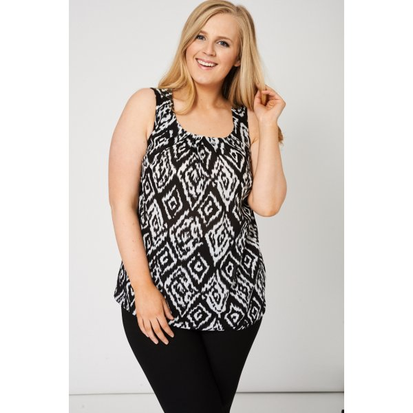 Pleat Front Sleeveless 9006 With Abstract Print -- 100% Viscose --- select 'color' and 'size' in order remarks