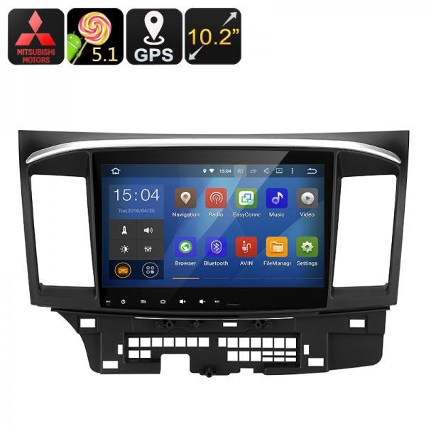 Mitsubishi Lancer 2 DIN Car Media Player - Android 5.1.1, Quad-Core CPU, 10.2-Inch Display, GPS, Wi-Fi, Google Play