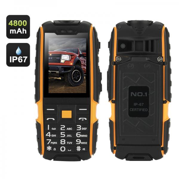 NO.1 A9 GSM Phone – 4800mAh Battery, 2.4 Inch 240x320 Screen, Dual SIM, IP67 Waterproof Rating, FM Radio, Flashlight (Yellow)