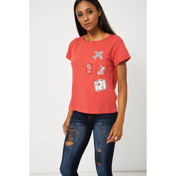 Side Tie Up Red T-9006 With Front Print -- 95% Cotton 5% Elastane --- select 'color' and 'size' in order remarks