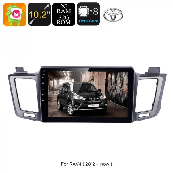 1 DIN Car Stereo - For Toyota RAV4, 10.2 Inch Display, Android 6.0, Bluetooth, WiFi, 3G Support, Octa-Core CPU, 2GB RAM, GPS