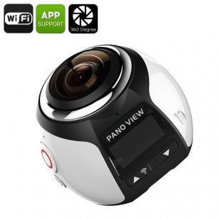 360 Degree 4K Action Camera - Panoramic Footage, 30M Waterproof Case, 16MP, FHD 2448P, 30FPS, HDMI, Wi-Fi (Silver)