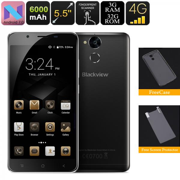 HK Warehouse Blackview P2 Lite Android Phone - 4G, 6000mAh Battery, 3GB RAM. 5.5 Inch FHD Display, 4G, OTG, Android 7.0 (Black)
