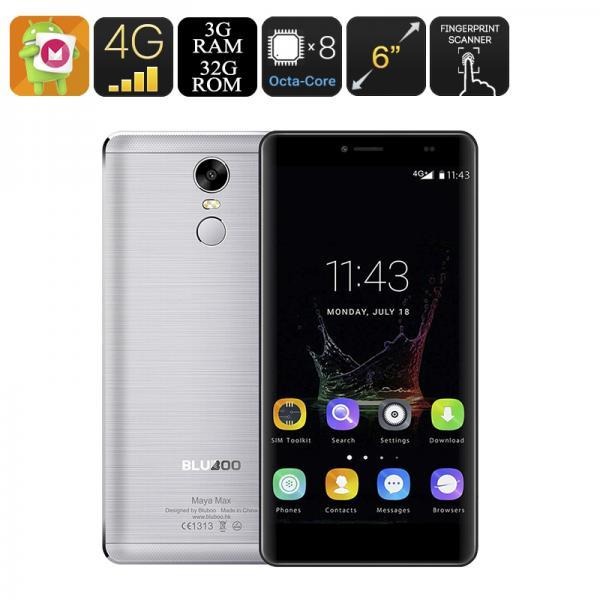 Bluboo Maya Max Smartphone - 6 Inch Screen, Android 6.0, 4G, OTG, Smart Wake, Fingerprint, Octa-Core CPU, 3GB RAM (Grey)