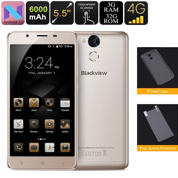 HK Warehouse Blackview P2 Lite Android Phone - Octa Core CPU, 4G, 6000mAh Battery, 3GB RAM, Fingerprint Scanner (Gold)