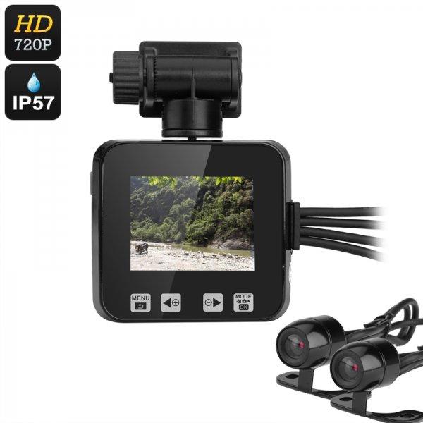 Dual-Camera Motorcycle DVR - 720p, IP57 Waterproof, Loop Recording, 2-Inch Display, 0.3MP CMOS, 120-Degree Lens
