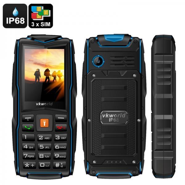 VKWorld New Stone V3 GSM Cell Phone - 3SIM Slots, IP68, Shockproof, FM Radio, Micro SD Slot, Powerbank, Flashlight, Radio (Blue)