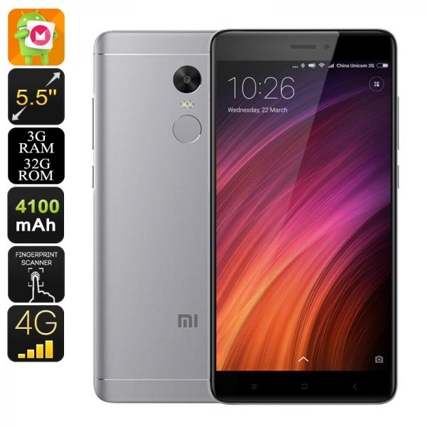 Android Phone Xiaomi Redmi Note 4X - SnapDragon 625 CPU, 2GHz, 3GB RAM, 5.5 Inch FHD Display, Fingerprint, 4G, Dual-IMEI (Grey)