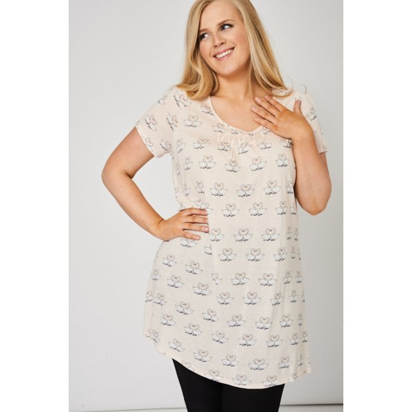 Pleat Front Tunic 9006 With Swans Pattern -- 96% Polyester 4% Elastane --- select 'color' and 'size' in order remarks