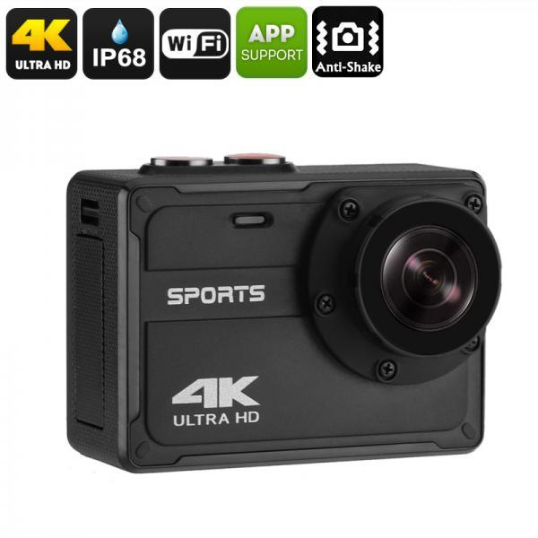 Waterproof 4K Sports Camera - IP68, 4K Resolution, 150-Degree View, 2-Inch Display, 30FPS, Anti Shake, App Support, WiFi, 800mAh