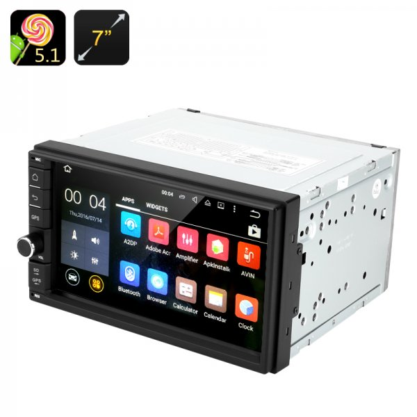 Android 5.1 Car Stereo - 2 DIN, 7 Inch Touch Screen, Bluetooth, GPS, Radio, Universal Fitting, 4x 45 Watt Output