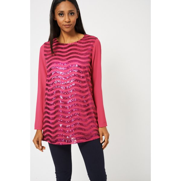 Fuchsia Pink Sequin Tunic 9006 -- 100% Polyester --- select 'color' and 'size' in order remarks