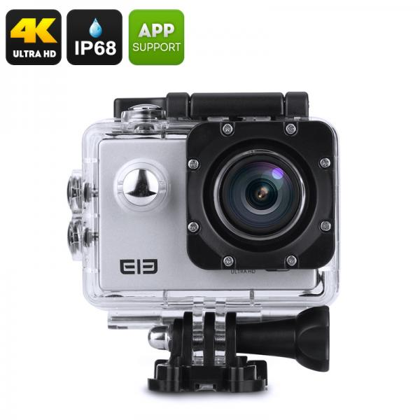 Elephone ELE Explorer 4K Action Camera - IP68, 16MP CMOS Sensor, 170 Degrees FOV, 2-Inch Display, Anti-Shake, Wi-Fi (Silver)