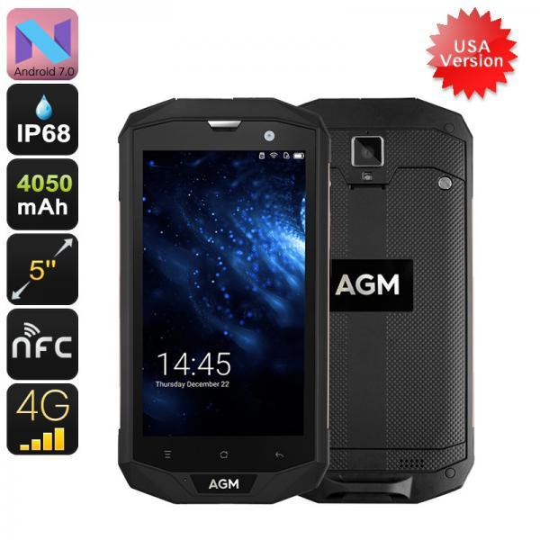 AGM A8 Rugged Phone - 4G USA Bandwidths, IP68, 5 Inch Screen, 3GB RAM, Android 7.0, 13MP Camaera, NFC, OTG