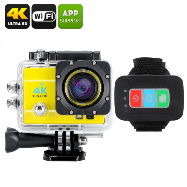 Q3H Waterproof 4K Sports Camera - Wi-Fi, 16MP, 170 Degree Wide Angle, 4X Digital Zoom, 2 Inch LCS Screen (Yellow)