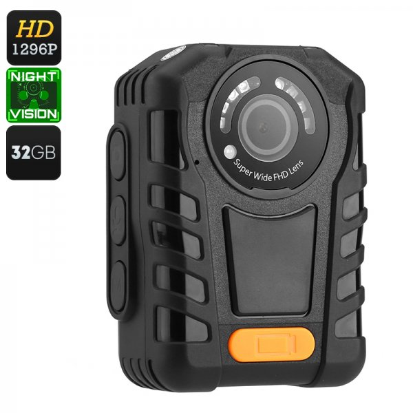 Police Body Cam - IP65 Waterproof, Night Vision, 1296p Resolution, Time Stamp, 2 Inch Display, 140 Degree Lens, 32GB Memory