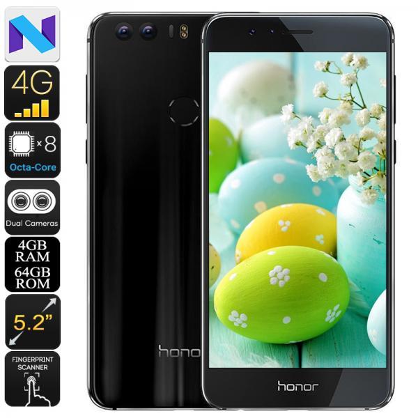 Huawei Honor 8 Android Phone - Dual-IMEI, Android 7.0, 1080p Display, 4GB RAM, Octa-Core CPU, 12MP Dual-Camera (Black)