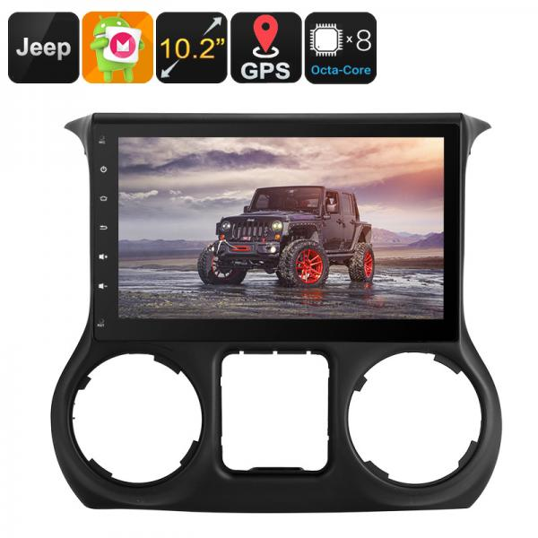 One DIN Android Media Player - For Jeep Wrangler, 10.2 Inch, Google Play, CAN BUS, Android 6, Octa-Core, 2GB RAM, GPS Navigation