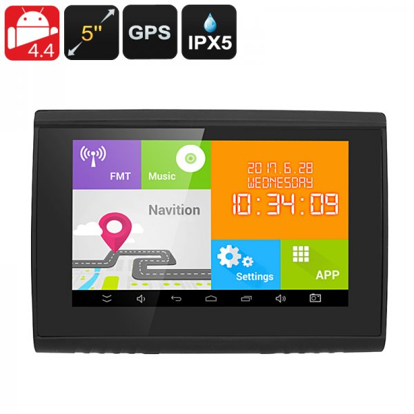 Android Navigation System - 22 Channel GPS, 5 Inch Display, IPX5 Waterproof, Bluetooth, 32GB SD Card Slot, 3.5mm Audio Jack