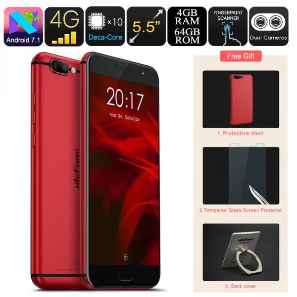 HK Warehouse Ulefone Gemini Pro Android Smartphone - Deca-Core CPU, 4GB RAM, Android 7.1, Dual-Lens 13MP Camera, Dual-IMEI (Red)