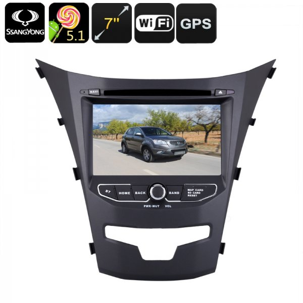 Android Car DVD Player - Dual-DIN, 7 Inch, 3G Support, Android 5.1.1, Region Free DVD, Quad-Core CPU, GPS, For Ssangyong Korando