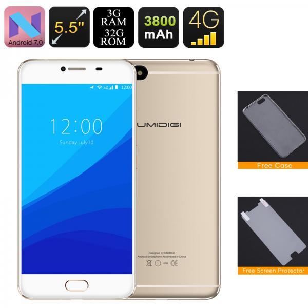 HK Warehouse UMIDigi C Note Android Smartphone - Android 7.0, Quad-Core CPU, 3GB RAM, Dual-IMEI, 4G, 13MP Cam (Gold)