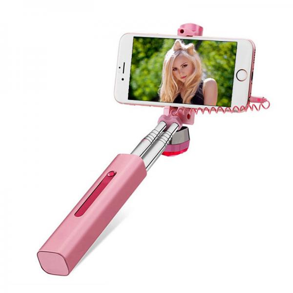 ATONGM Rose Gold Aluminum Selfie Stick - For Android and iOS, Plug And Play 3.5mm Jack, 66.5cm Extendable, 180 Degree Rotation
