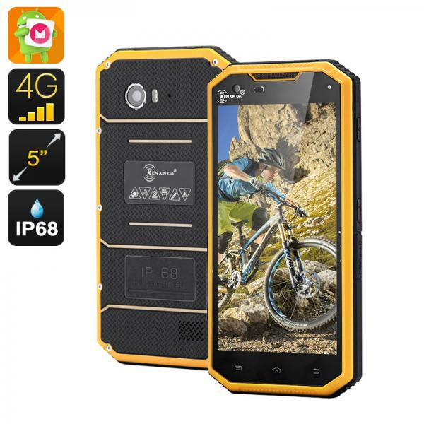 HK Warehouse KEN XIN DA PROOFINGS W7 Rugged Smartphone - Android 6.0, 4G, 5 Inch 720P, Quad Core CPU, Dual SIM, IP68 (Yellow)
